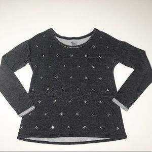 Aerie Gray Heathered Silver Snowflake Sweatshirt
